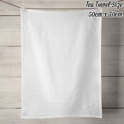 50% Linen Tea Towel - White